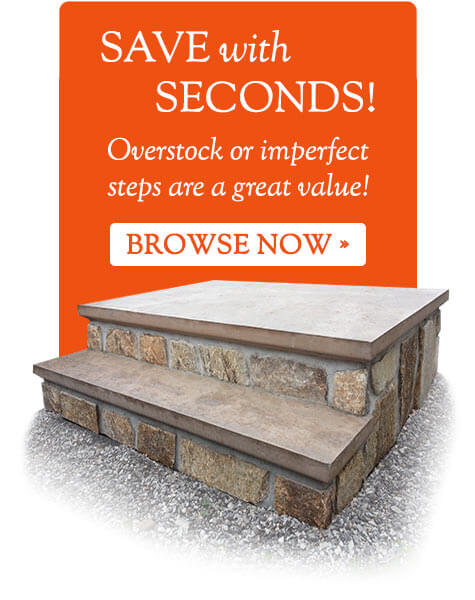 Seconds are precast steps that have minor imperfections offered at steep discoutns. Browse Online Now.